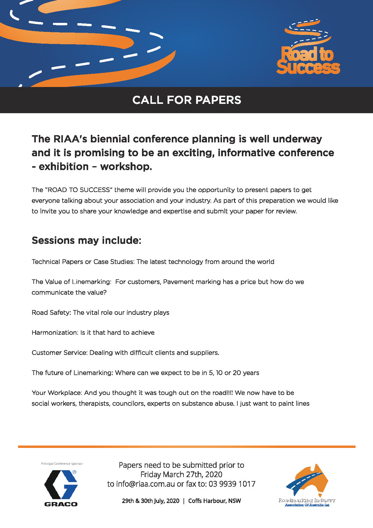 "Call for Papers - July 29th & 30th 2020 – ""Road To Success"" Conference – Opal Cove Resort Coffs Harbour"